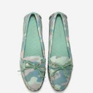 COLE HAAN green canvas driving moccasins,8!NEW
